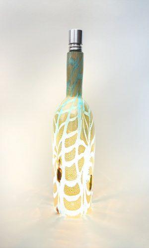 • Aquamarine with mix murrine, brown glass